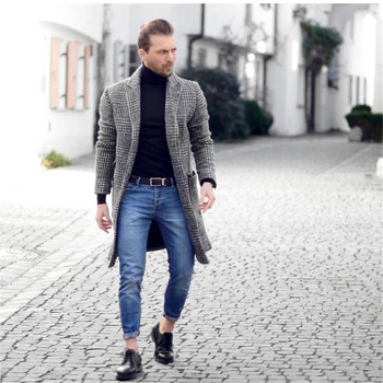 Plaid Printed Winter Mens Blends Coat Lapel Neck Long Style Mens Coats Fashion Casual Hoome Clothing