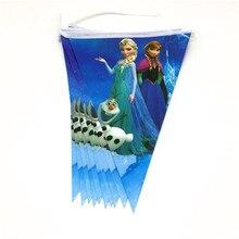 1 Набор, баннер 2,5 м, 10 шт., флаг для детей, для дня рождения, украшения, висящий флаг, принт Анны, Эльзы, праздничные украшения, поставка