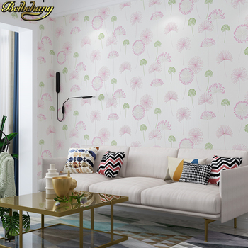 beibehang 53X300cm Scouring rural Dandelion Self-adhesive wallpaper bedroom decor 3D Flowers wall paper living room Wall Sticker beibehang 53x300cm european non woven self adhesive wallpaper 3d garden pink wall paper roll bedroom living room tv background