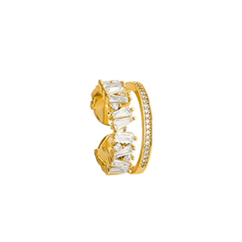 Luxury Zircon Gold Double Student Opening Rings For Woman 2021 New Fashion Gothic Finger Jewelry Wedding Party Girl's Sexy Ring