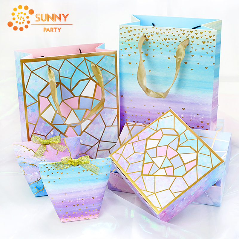 Gold Stripe Geometric Heart Tote Bag Gradient Color Paper Package Boxes Valentine's Day Birthday Gift Packaging Party Supplies