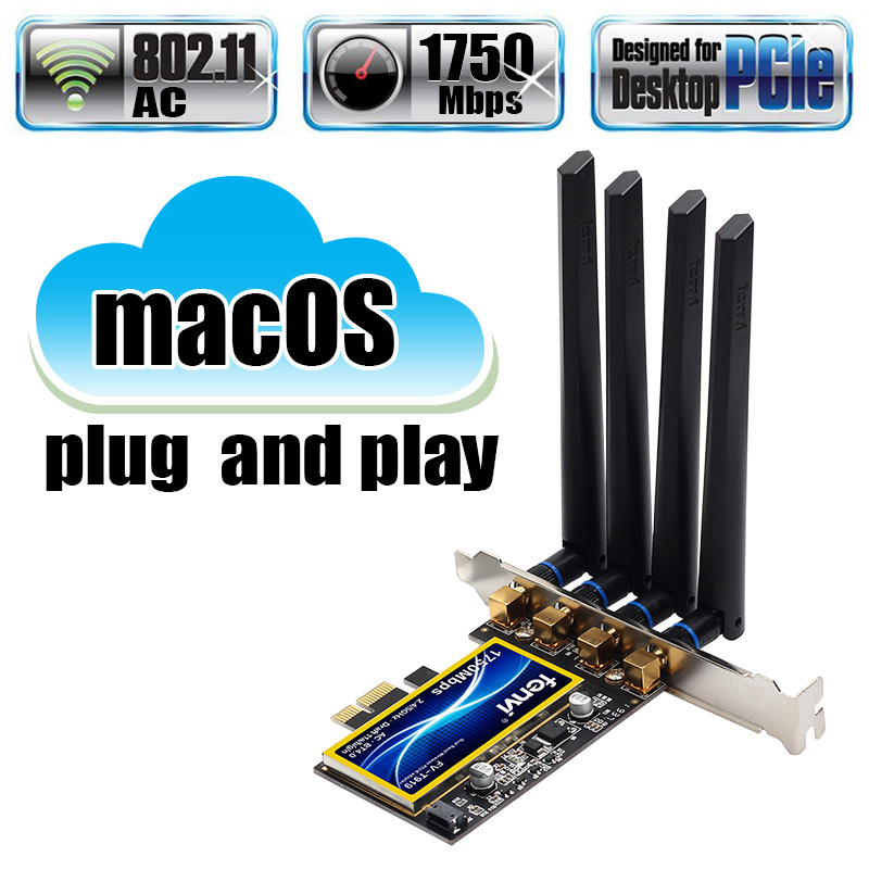 Dual Band 802.11ac Desktop PCIe Wifi Card Wireless Adapter Bluetooth 4.0 BCM94360 For MacOS Hackintosh Windows