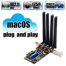 Настольный PCIe Wifi беспроводной адаптер для карты, двухдиапазонный 802.11ac BCM94360 для MacOS Hackintosh Windows