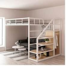 Trabalho de ferro cama elevada sob a única camada superior vazia dupla camada pequena família espaço economia sótão beliche apartamento alto e l