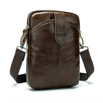 Vintage Men Messenger Bags Genuine Leather Mini Travel Bag 2