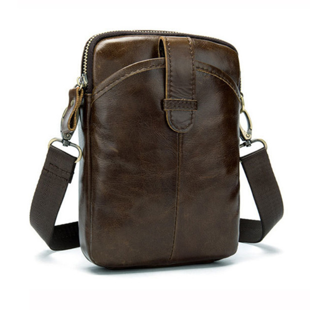 Vintage Men Messenger Bags Genuine Leather Mini Travel Bag 2