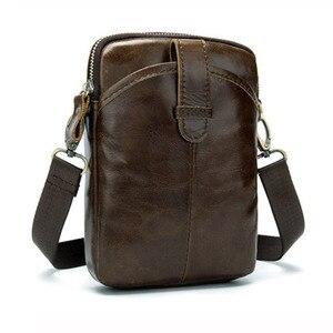 Image 2 -  Vintage Men Messenger Bags Genuine Leather Male Mini Travel Bag  Man Shoulder Bags Small Crossbody Bag For Mens Men Leather Bag