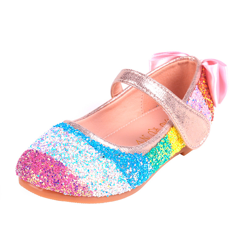 Kids Shoes Wedding Dance Girls Princess Shoes Children Casual Shoes Glitter Leather Rainbow Sequins Sandals Party Dress Loafers