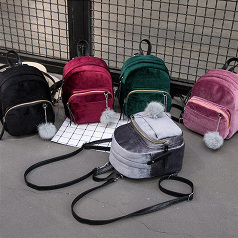 Women Backpacks Velvet Backpack Veludo Schoolbag Zipper With Pompom Fashion Casual Mini Backpacks Female Bags Mochila
