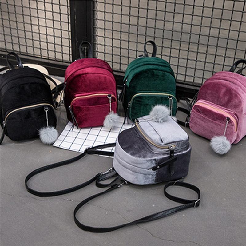 Women Backpacks Velvet Backpack Veludo Schoolbag Zipper With Pompom Fashion Casual Mini Backpacks Female Bags Mochila