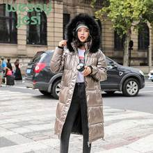 2019 Women Thick Jackets Winter Down Jacket Chic Big Fur Warm Ultra Light Long Coat Female Parka Hooded Glossy Jackets Oversized ultra chic блузка