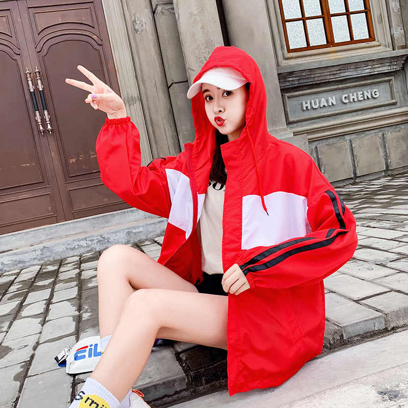 女性の秋の Bf 風パッチワーク女性ウインドブレーカージャケットカジュアルスリム長袖ポケットジッパーアップ上着特大