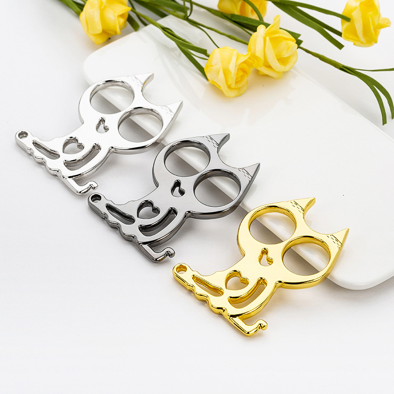 5PCS Mini- Love Iron Cat Buttons Self Protection Articles Cat Eye Finger Cat Eye Ai Punch Defence The Wolf. Escape Defence Organ