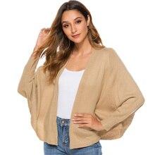 ALLNeon Elegant Batwing Sleeve Womens Cape Knitting Cardigan Loose Sweaters Autumn Fashion Shrugs for Women Casual Feminino