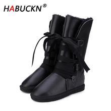 HABUCKN 2020 Classic Women Snow Boots Leather Winter Shoes Boot bota feminina botas mujer zapatos Women waterproof Snow Boots