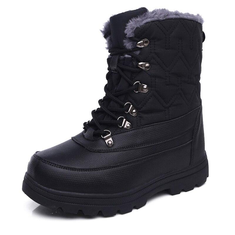 Мужские зимние ботинки; теплые мужские ботинки; высококачественные водонепроницаемые кожаные кроссовки; уличные мужские походные ботинки; рабочие ботинки - 2
