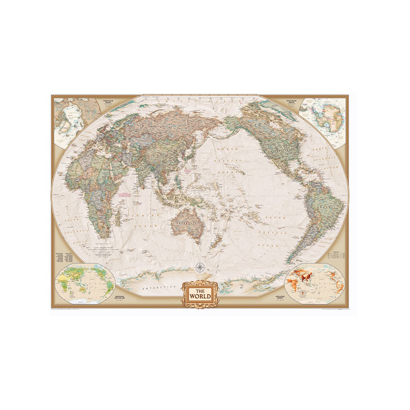 Classic World Map 150x100cm Non Woven Map With Important Cities In Each Country For Trip