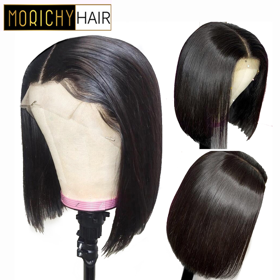 Morichy Short Straight Bob Wig 13x4 Lace Front Human Hair Wigs Brazilian Natural Remy Human Hair Pre-Plucked With Baby Hair