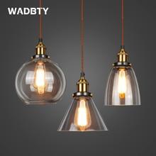 זכוכית תליון מנורת בציר תליון אורות אמריקאי ענבר E27 אור הנורה דקור פלנטריום מנורת חדר אוכל מטבח בית LED