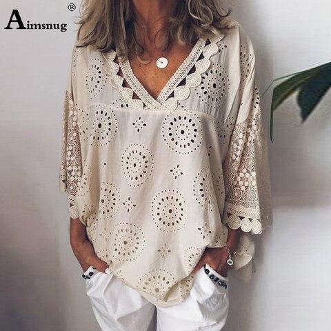 Tamanho Grande Mulheres Verão Blusa Outono Camisas Casuais Feminino v Pescoço Rendas Blusas 3 – 4 Manga Túnica Moda Oco Topos 4xl 5xl 2020