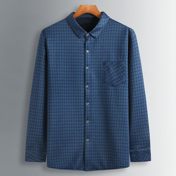 Season Grid Fat Shirt Plus Fat plus Men Big Size Plus Velvet Long Sleeve Fat Man Loose Middle-aged And Elderly T Shirt