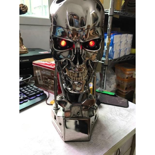 ¡Genial! Cráneo de T 800 terminator, escala 1:1, 39CM, con chip, edición de resina electrochapada estándar, artículos de decoración