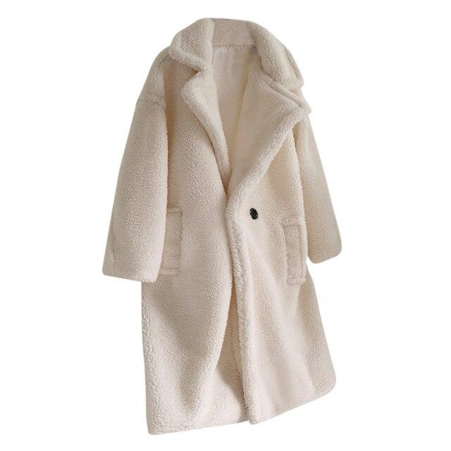 New Arrival Women Loose Long Windbreaker Lamb Coat Fashion Autumn And Winter Medium Long Windbreaker Lamb Coat chaquetas mujer