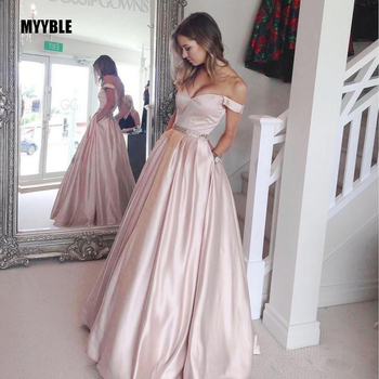 Elegant Muslim Evening Dresses 2020 A-line Off The Shoulder Satin Beaded Islamic Dubai Saudi Arabic Long Formal Evening Gown muslim turkish evening dresses 2018 a line long sleeves tulle appliques beaded dubai saudi arabic long elegant evening gown
