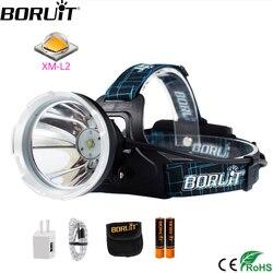 BORUIT B10 XM-L2 LED كشافات 3-وضع 6000LM مصباح أمامي قوي USB قابلة للشحن رئيس الشعلة التخييم الصيد إضاءة مقاومة للمياه