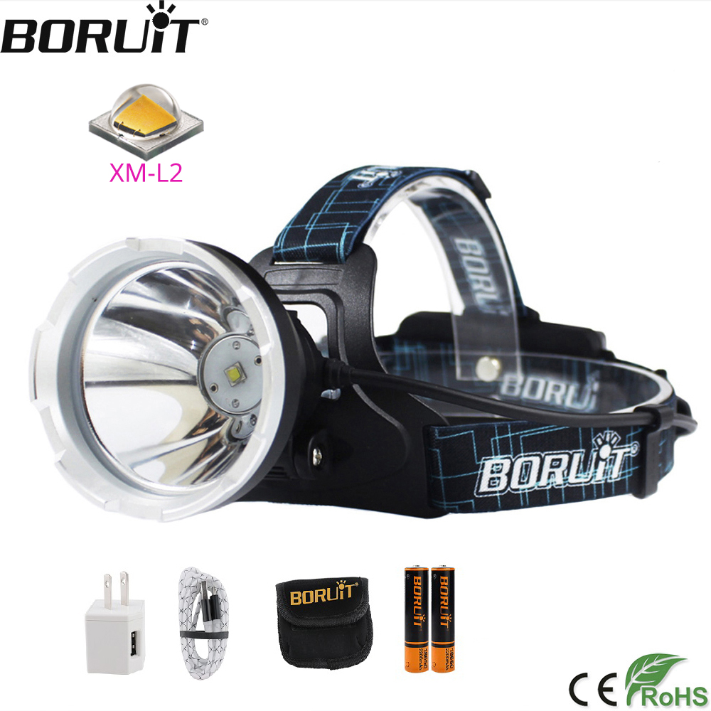 BORUIT B10 XM-L2 LED Headlamp 3-Mode 6000LM Powerful Headlight USB Rechargeable Head Torch Camping Hunting Waterproof Flashlight