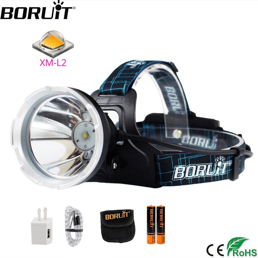 BORUIT B10 XM-L2 LED Headlamp 3-Mode 6000LM Powerful Headlight USB Rechargeable Head Torch Camping Hunting Waterproof Flashlight