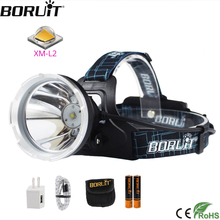 BORUiT B10 XM L2 LED Powerful Headlamp 3 Mode 6000LM Headlight Rechargeable 18650 Waterproof Head Torch for Camping Hunting