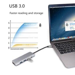 Image 3 - 5 in 1 yerleştirme istasyonu USB 3.0 HDMI Ethernet MacBook Pro için C veri PD şarj portu akıllı telefon için iMac dizüstü bilgisayar masaüstü