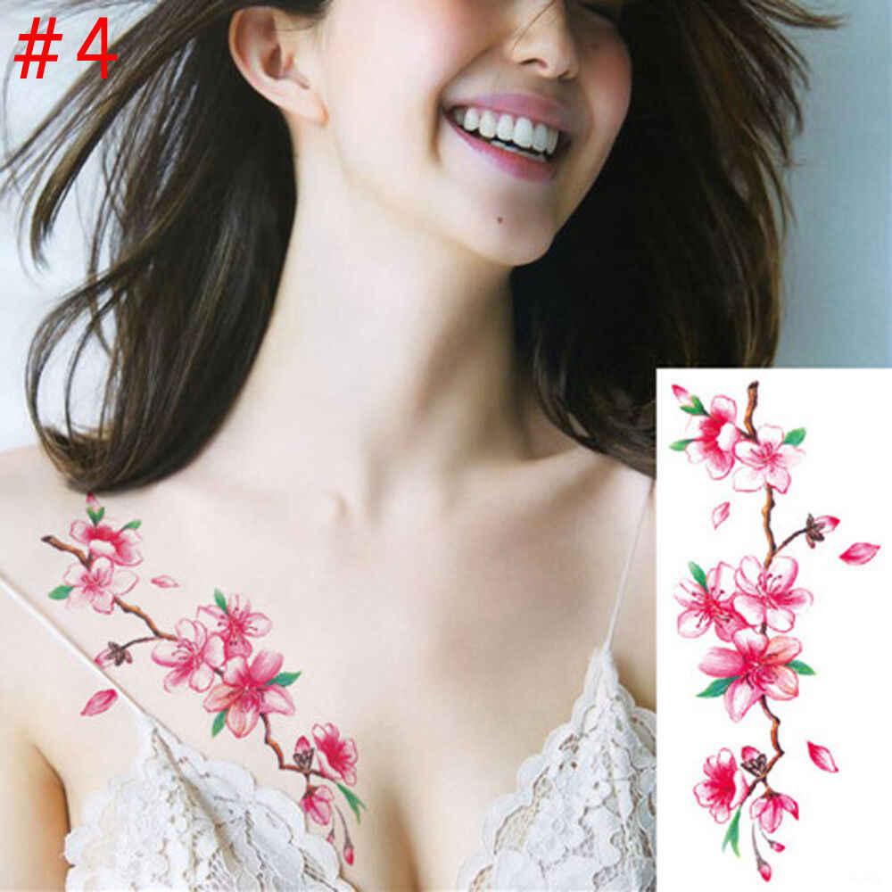 1 peça beleza compõem falso tatuagens temporárias adesivos rosa flores braço ombro tatuagem à prova dbig água grande flash tatuagem no corpo