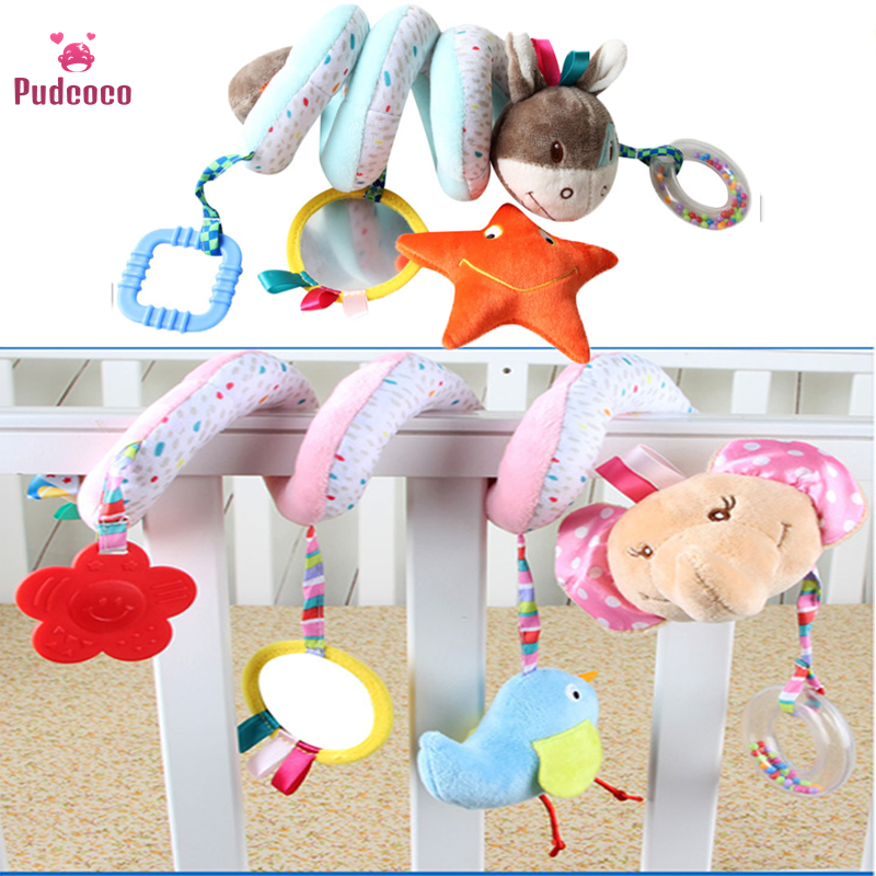 Baby Stroller Toys Bebe Mobile Bed Crib Car Animals Hanging Stroller Spiral Plush Appease Doll Teether Developmental Rattles Toy
