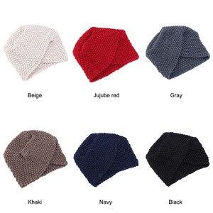 Image 2 - Мусульманская женская зимняя шапка, теплая шерстяная вязаная шапка, облегающая шапка для сна, головной убор для пациентов с раком
