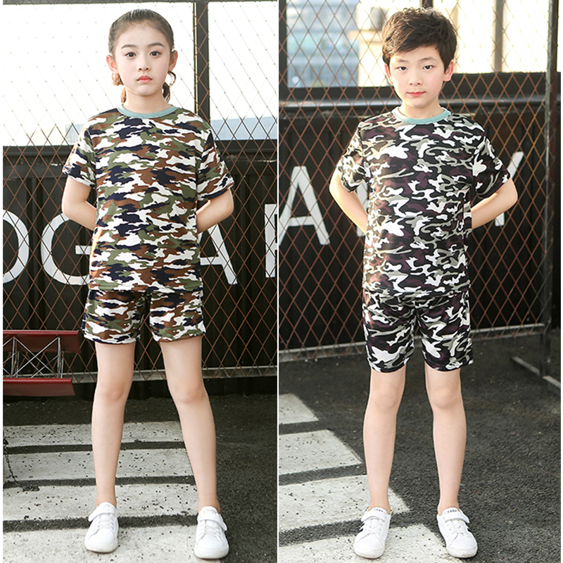 100-180cm Children Military Tactical Uniform Shirt Shorts Clothing Set Student Summer Camp Combat Training Costumes For Kids