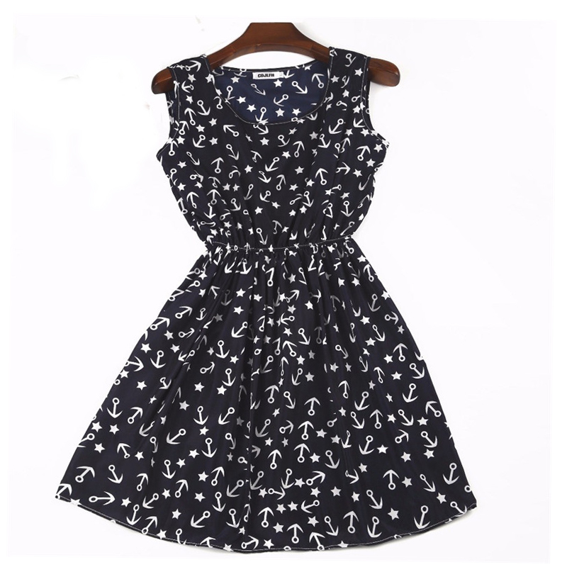 Sexy Summer Dresses Women Bohemian Floral Print Vintage Vestidos Dark Blue Beach Robe Femme Sleeceless Slim Chiffon Sexy Dress