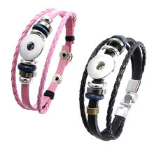 "Black/Pink Leather 8.2"" Snap Button Bracelet for 18mm Snap Charms, Interchangeable Jewelry, Snap Jewelry, Fashion(China)"