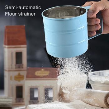 Półautomatyczne sito do przesiewania mąki ze stali nierdzewnej narzędzia do pieczenia kubek sito filtra mąki ręczne sito do przesiewania mąki ZD tanie i dobre opinie CN (pochodzenie) Przesiewacze i shakers Ekologiczne STAINLESS STEEL Narzędzia do pieczenia i cukiernicze