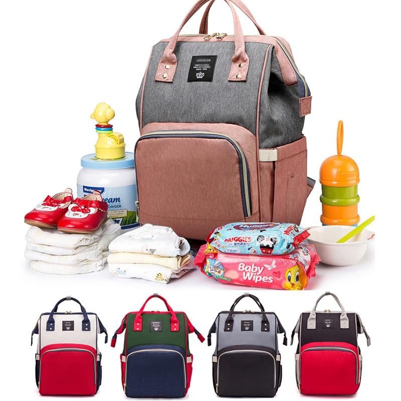 Moda maternidade saco de fraldas para o bebê grande capacidade saco de fraldas bolsa de viagem mamãe para cuidados com o bebê mochila para a mãe