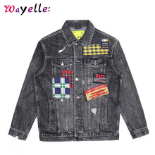 Jean Jacket Men Dark Grey Patchwork Retro 2019 Punk Style Casual Mens Jackets and Coats Chic Hip Hop for