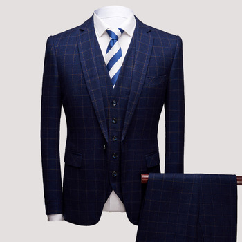 2019 men's business casual checked dress youth fashion plaid suit the groom dress a three-piece suit
