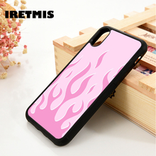 Iretmis 5 5S SE 6 6S TPU Silicone Rubber phone case cover for iPhone 7 8 plus X Xs 11 Pro Max XR Pink Flames
