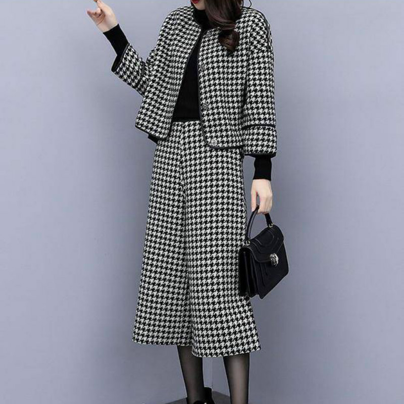 Woman Two Piece Sets Woolen Jacket + Wide Leg Pants Houndstooth Trousers Outfit