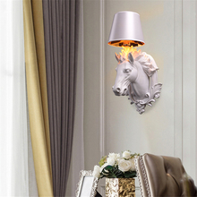 nordic Industrial Decor Wall Art Wall Lamp modern Resin White/black Horse Bedroom Wall Light Creative Cafe Shop Wall Sconce Lamp