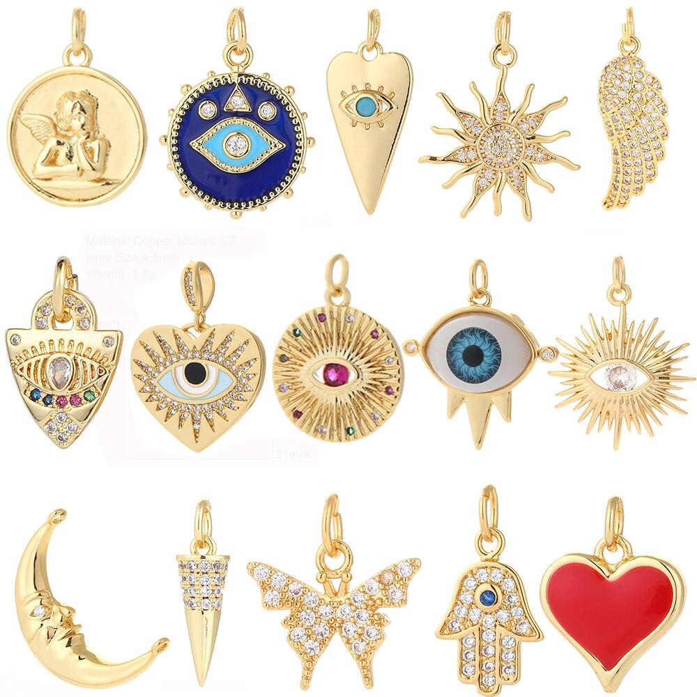 Pop Art Charms for Bracelet Necklace Making Colorful Cute Charm Bead Connectors Designer Charms Heart Letter Evil Blue Eye Diy