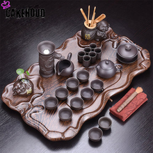 Purple Sand Home Kung Fu Tea Set Ceramic Teapot Cup Table Ceremony Accessories Solid Wood Tray A