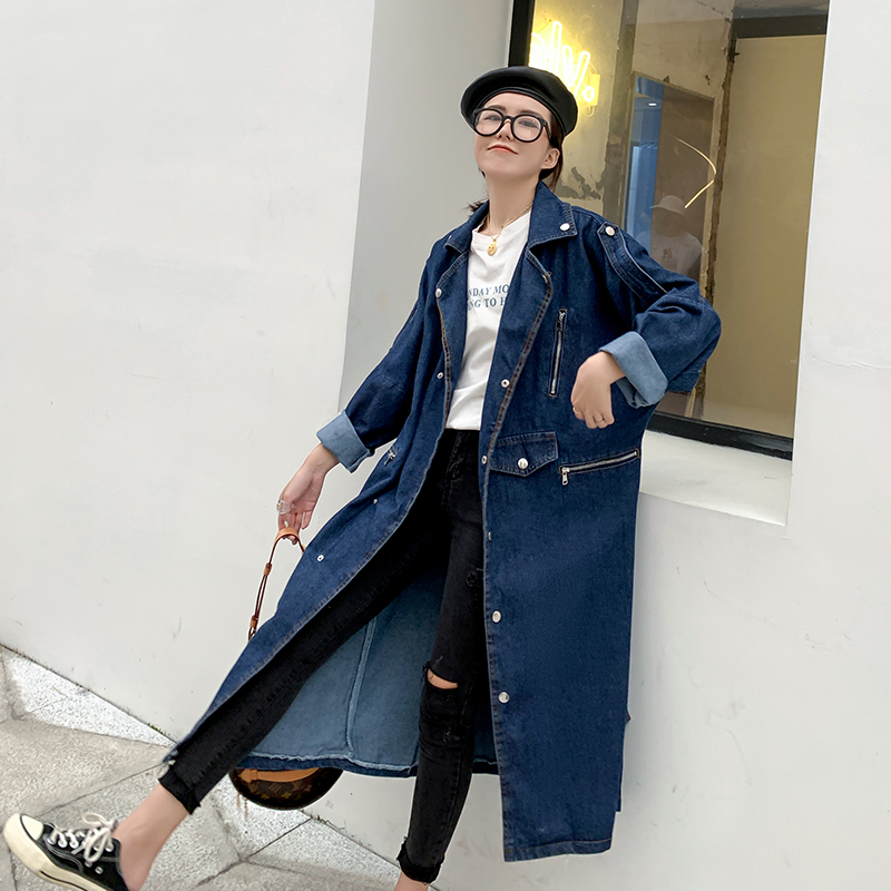 2019 Spring Autumn New Korean Tide Blue Turn-down Collar Long Sleeve Single Breasted Long   Trench   -Coat Lady Denim Coat Women