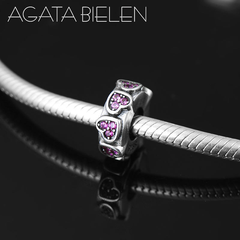 New 925 Sterling Silver Heart Deep Pink CZ Round Fine Spacer Stopper Beads Fit Original Pandora Charm Bracelet Jewelry Making